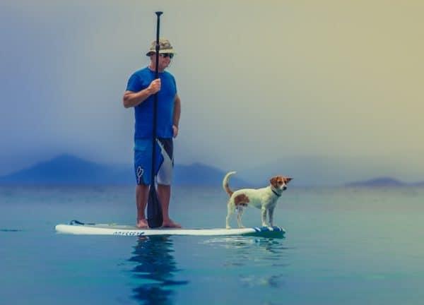 man and dog on paddleboard practicing humility