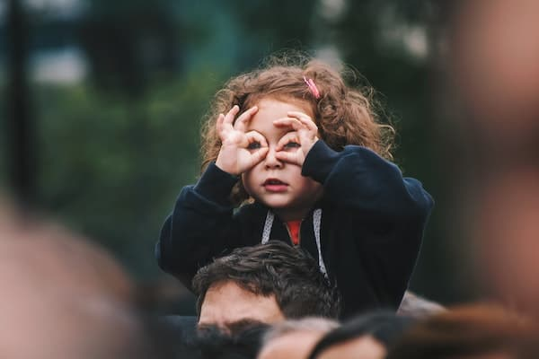 young child testing her perceptions