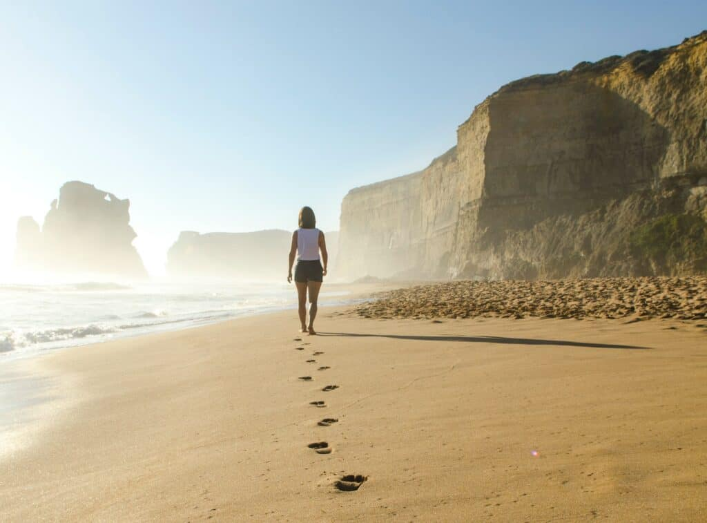 Footsteps in sand, making a choice